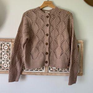 Mauve Pointelle Button Cardigan/Sweater